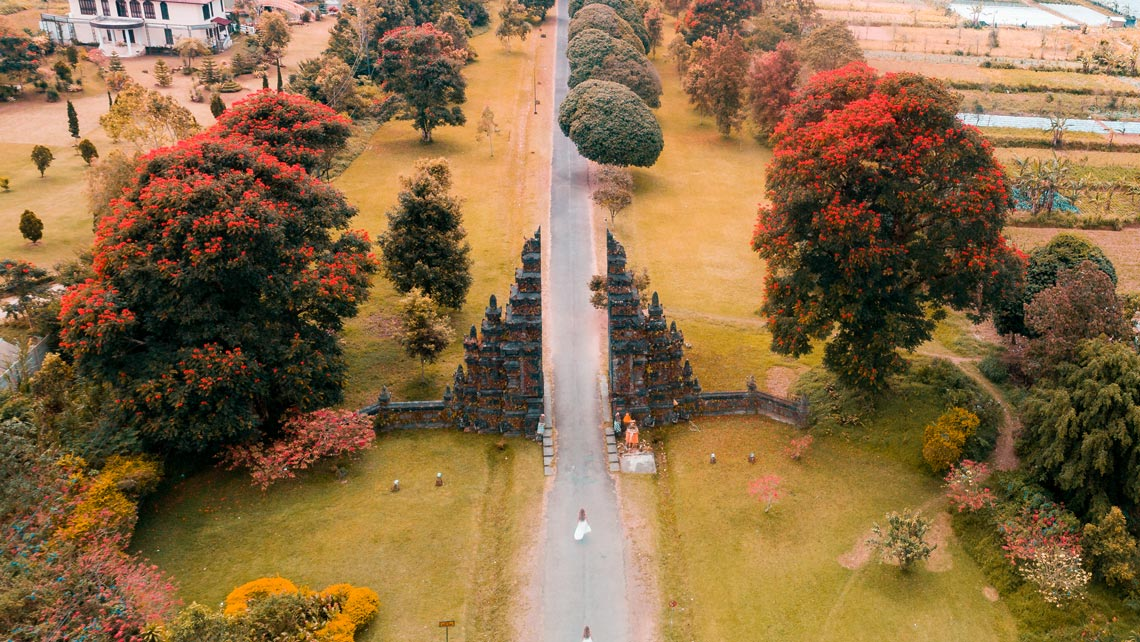 balinese split gate drone photo