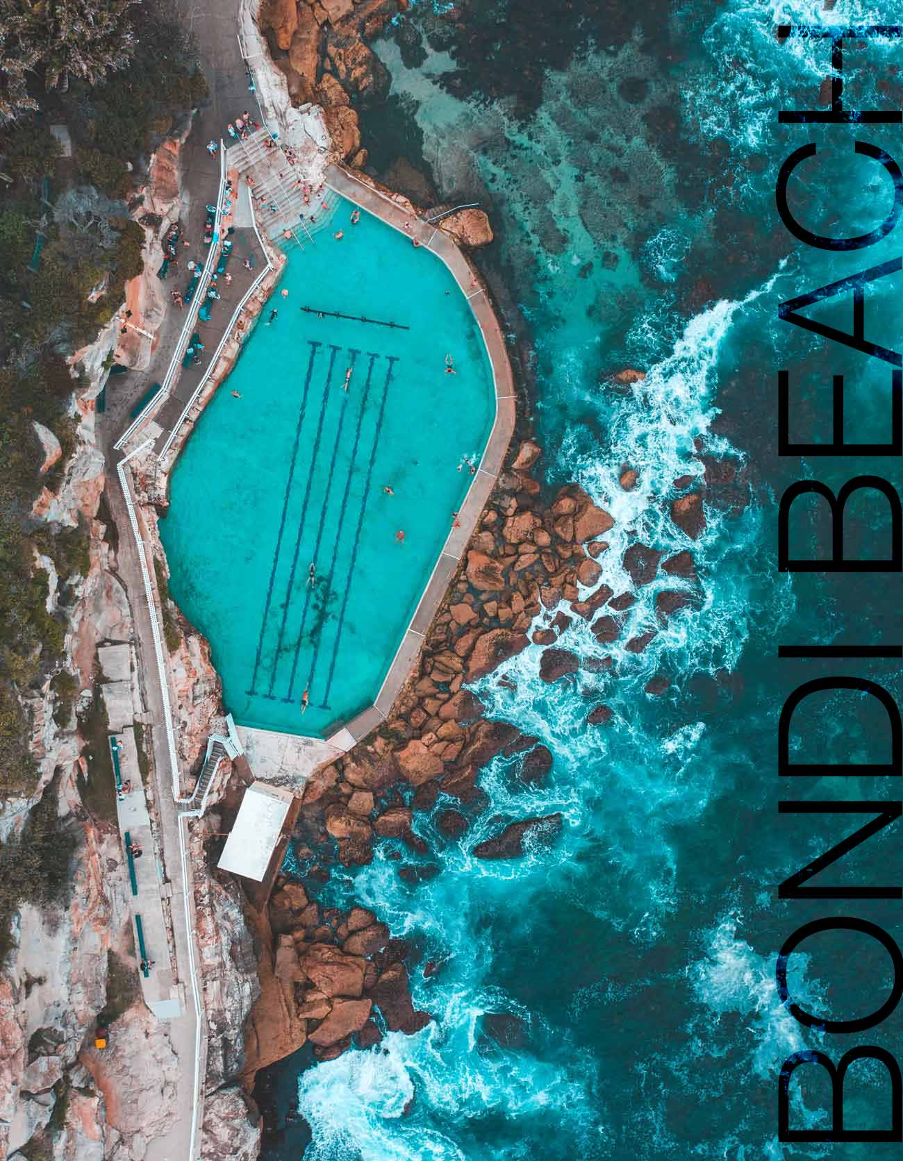 ocean swimming pool drone photo