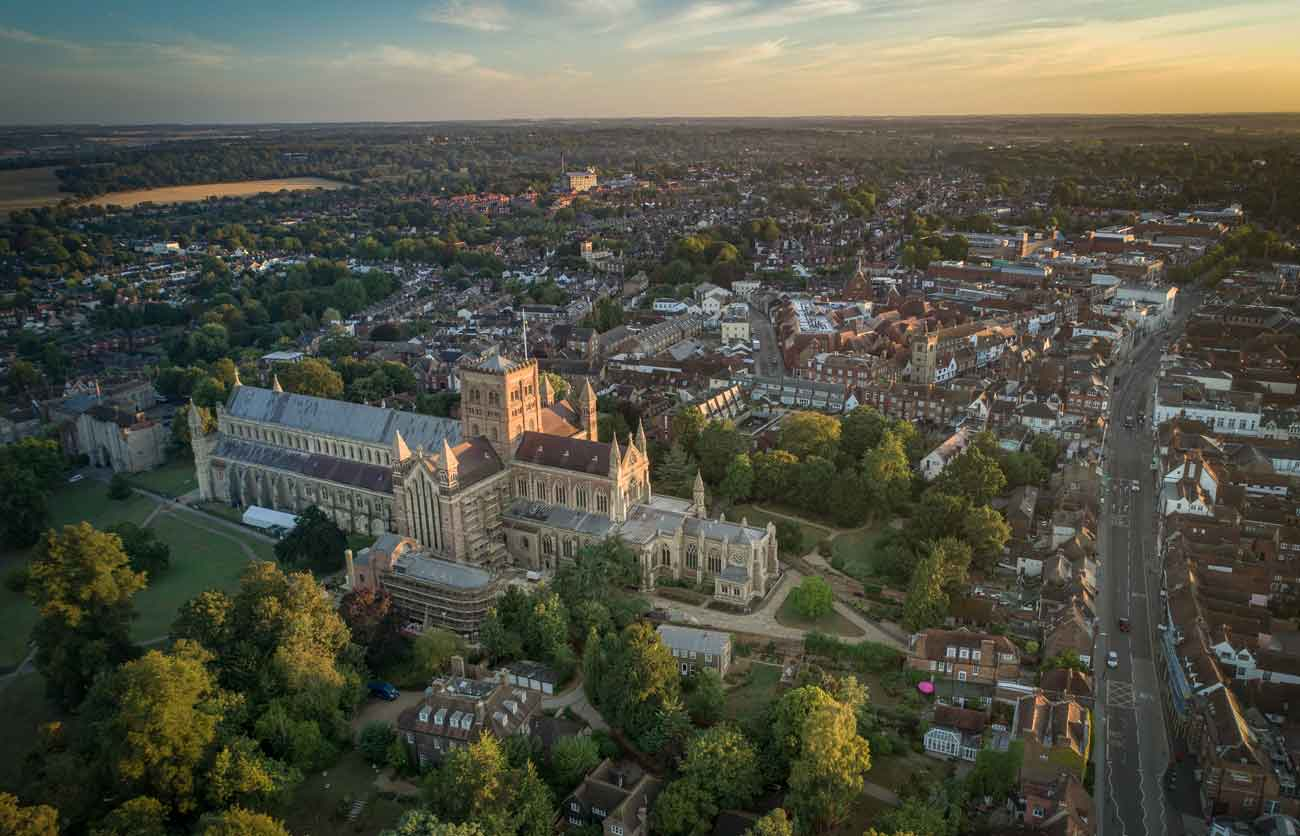 st albans city filmed by drone
