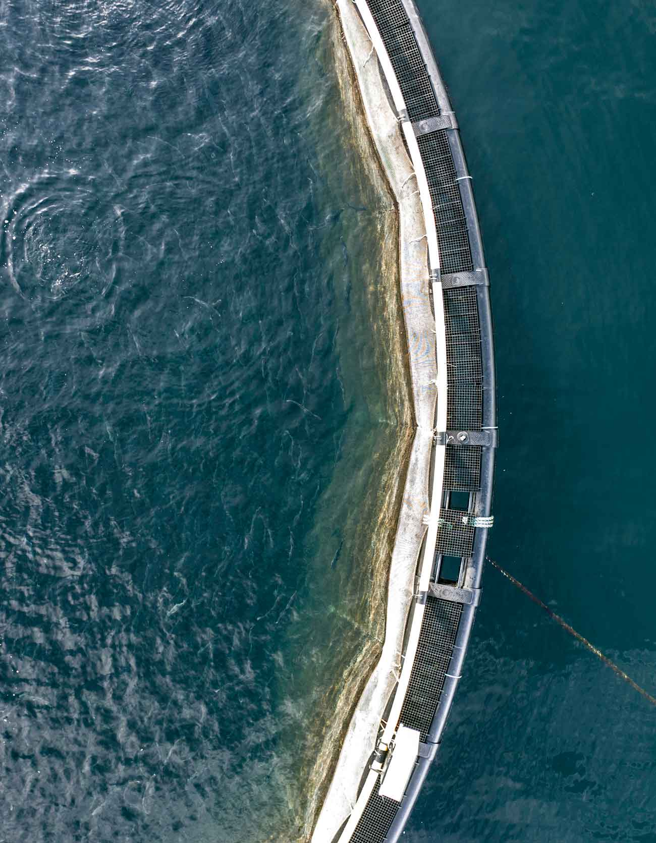 bird's eye view of a fish farm drone photo'