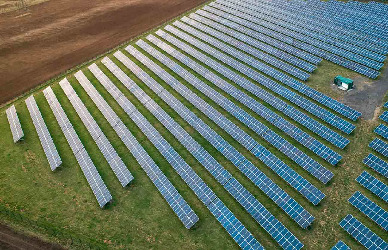 solar farm photograph by drone