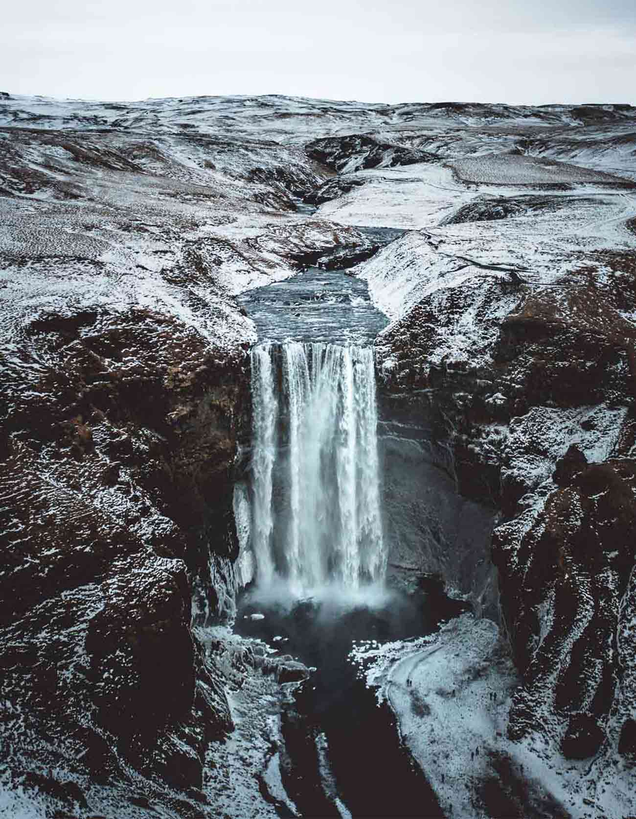 Icelandic waterfall drone photo