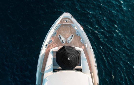 bird's eye view of a luxury superyacht taken by drone