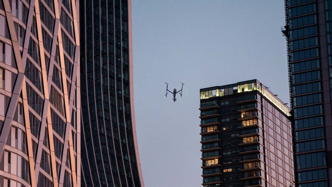 a drone flying in London