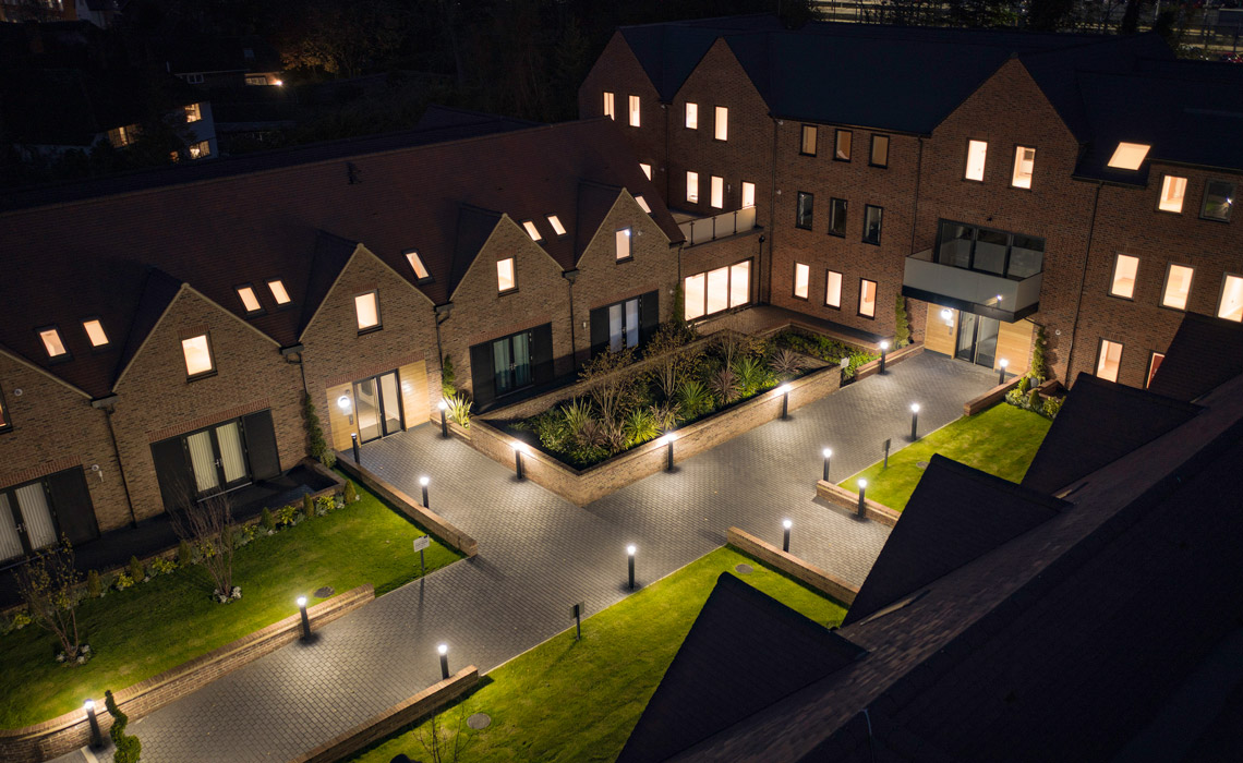 newly built homes photographed by a drone at night