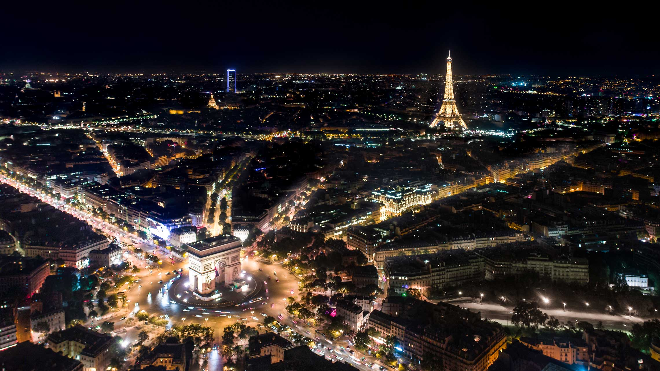 paris skyline photo by drone