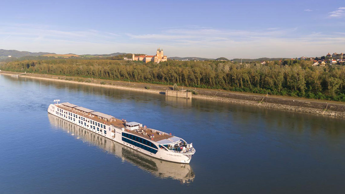 a riverboat on the Rhine aerial drone photo