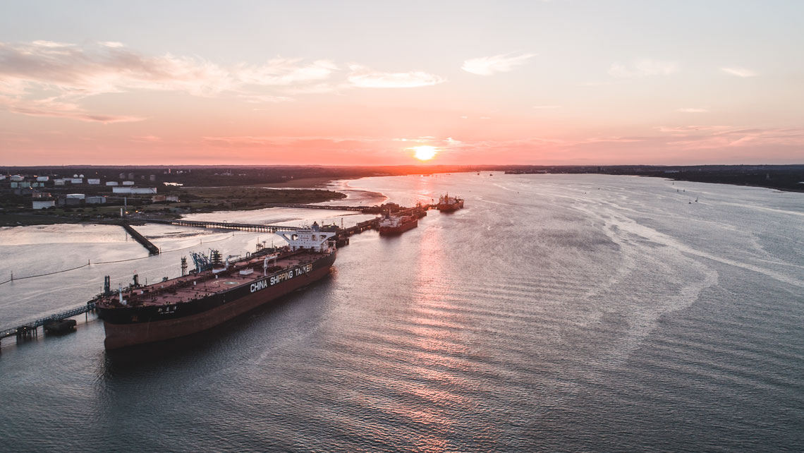 shipping tanker photographed by drone