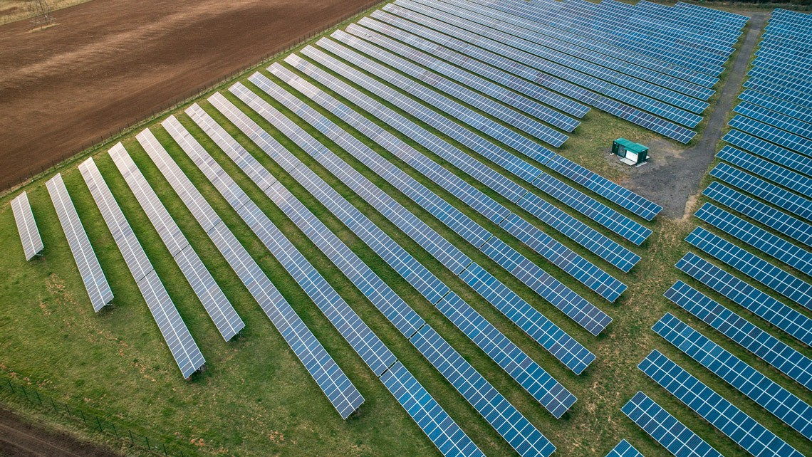 drone photo of a solar farm