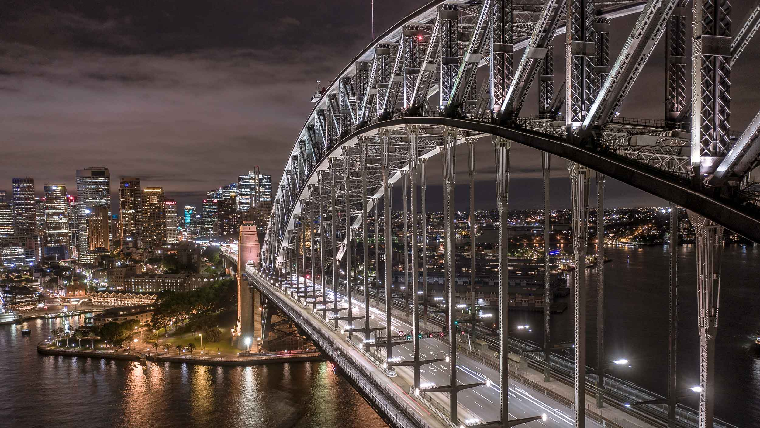 drone shot of the Sydney Harbour Bridge