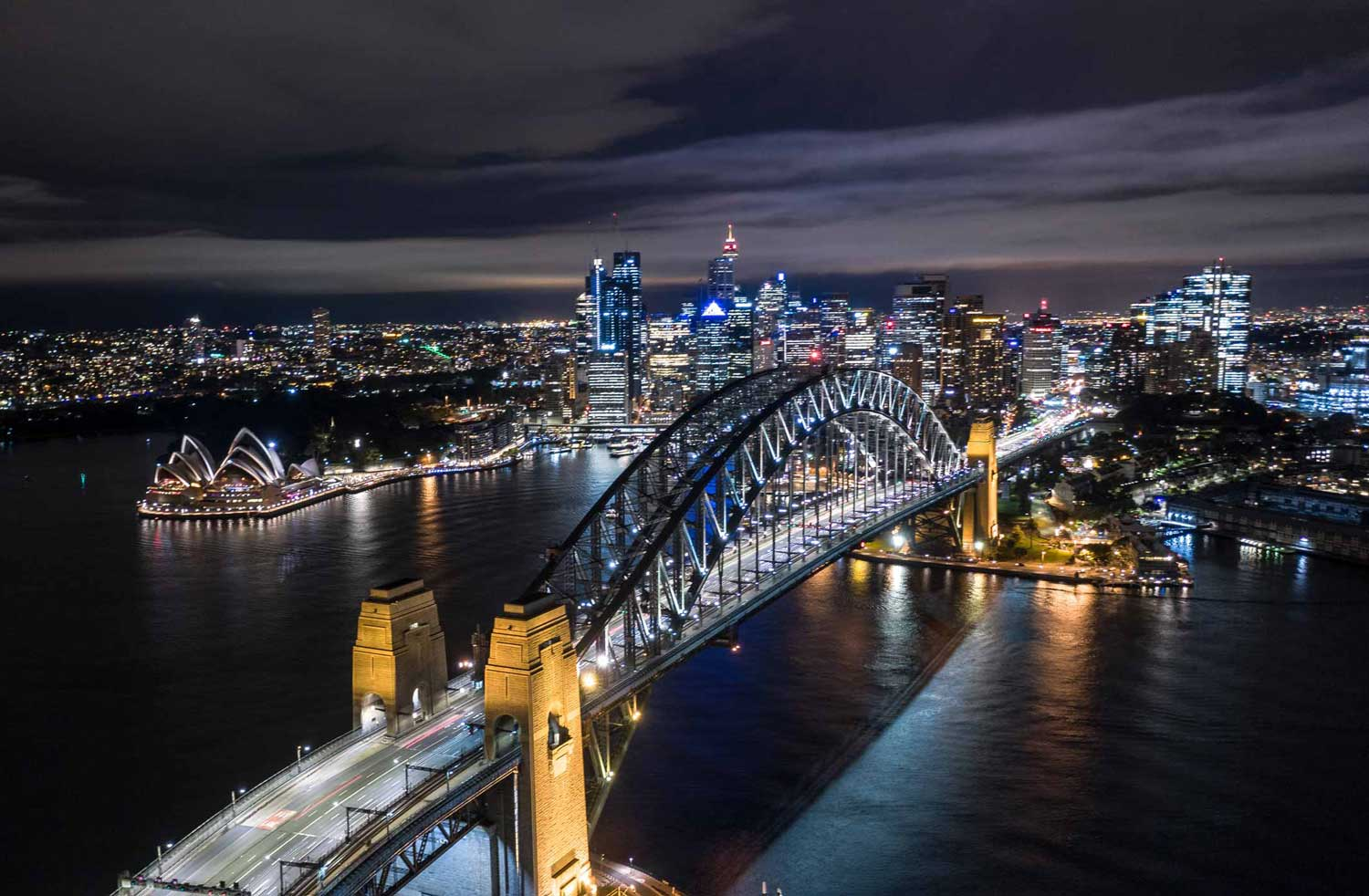 night view of Sydney harbour from a drone