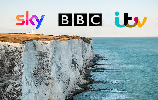 aerial view of cliffs from a drone used in a tv programme