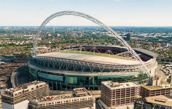 wembley stadium aerial photograph taken by a drone