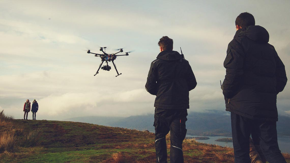drone team working on a film set